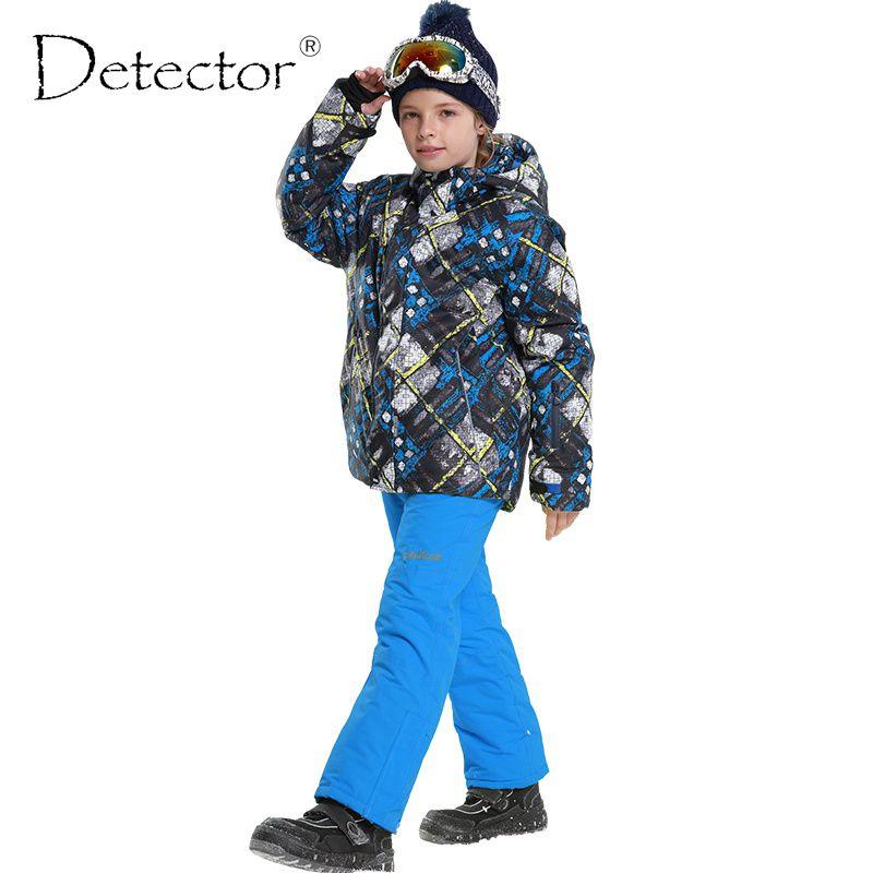 Auto-detektor New kinder Ski Tragen Mit Kapuze Jacken + Verband Hosen Kinder snowboard Anzüge Baby Jungen Winter Warme Sport mantel Sets