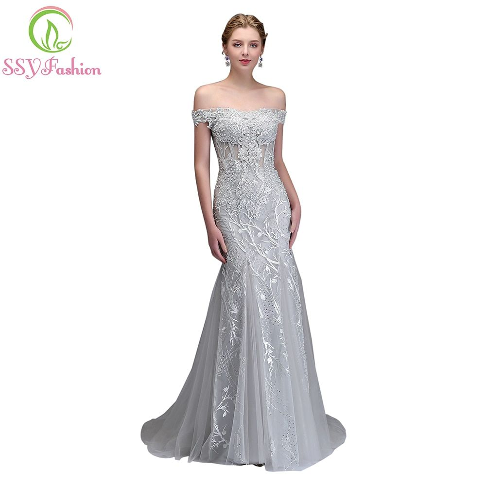 SSYFashion New Luxury Mermaid Lace Evening Dress High-end Banquet Elegant Grey Appliques with Beading Fishtail Prom Party Gown