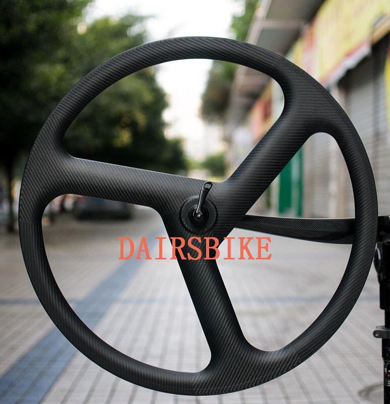 free shipping Carbon 3 Spoke Wheel 700c Fixed Gear Spokes Carbon Wheels 3k 23mm Width Cycling Wheels bicycle wheelset
