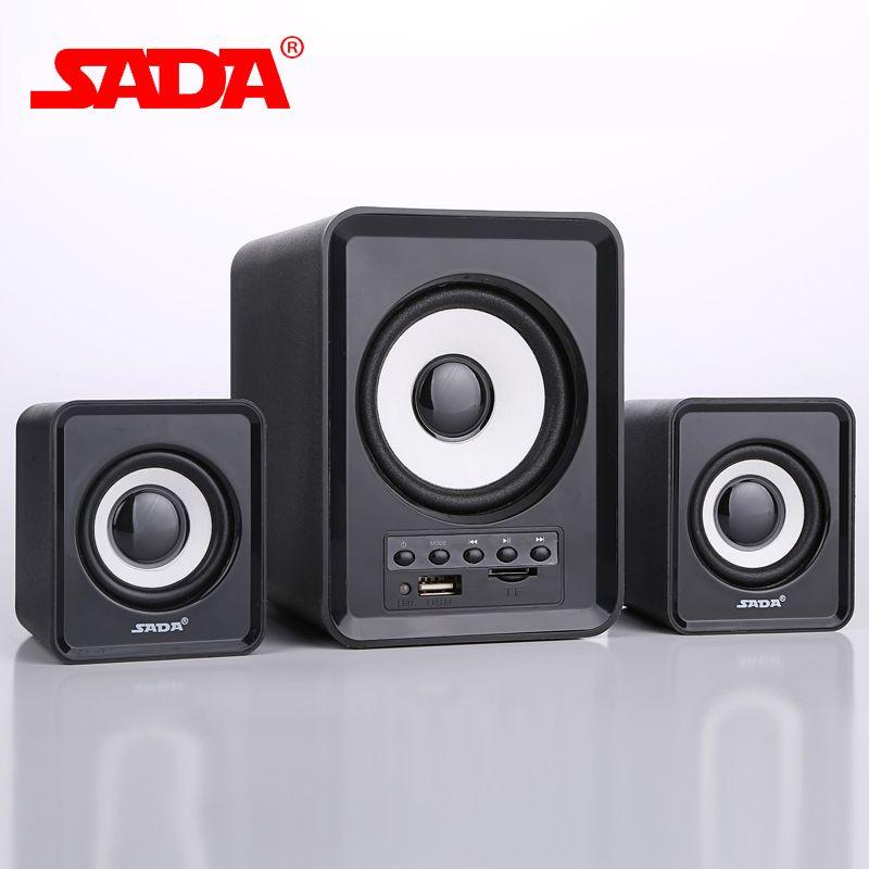 SADA D-230 Mini Subwoofer 3D Surround Super Bass PC USB Bluetooth Wireless Smart Phone Speaker Computer Speakers Support TF Card