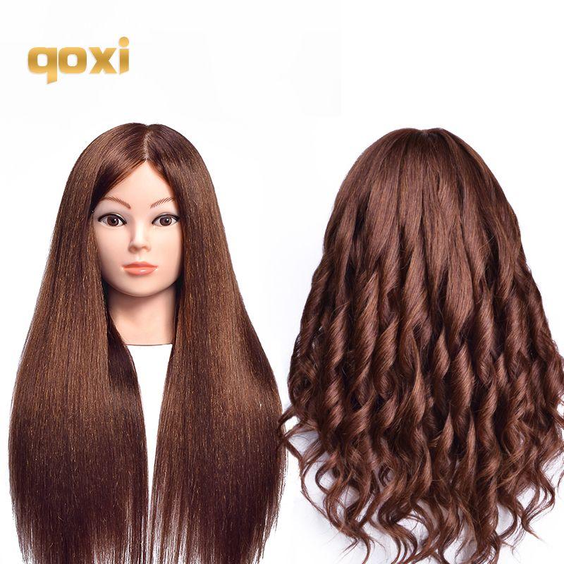 Qoxi Professionelle ausbildung köpfe mit 60% echte menschliche haare kann gekräuselt werden praxis Friseur mannequin puppen Styling maniqui