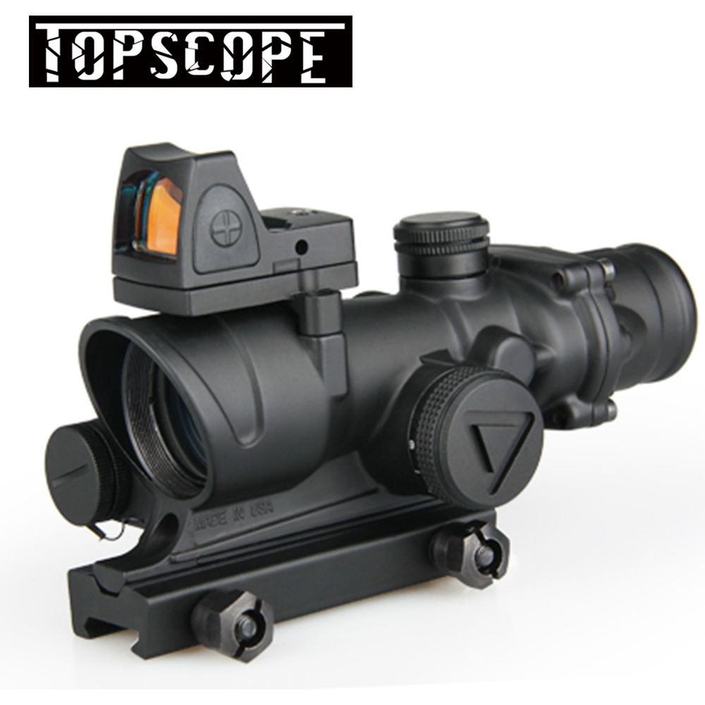 Tactical ACOG 4x32 LED Scope HD Sight Scope Illuminated RifleScope With Reflex Adjustable Min Red Dot Sight