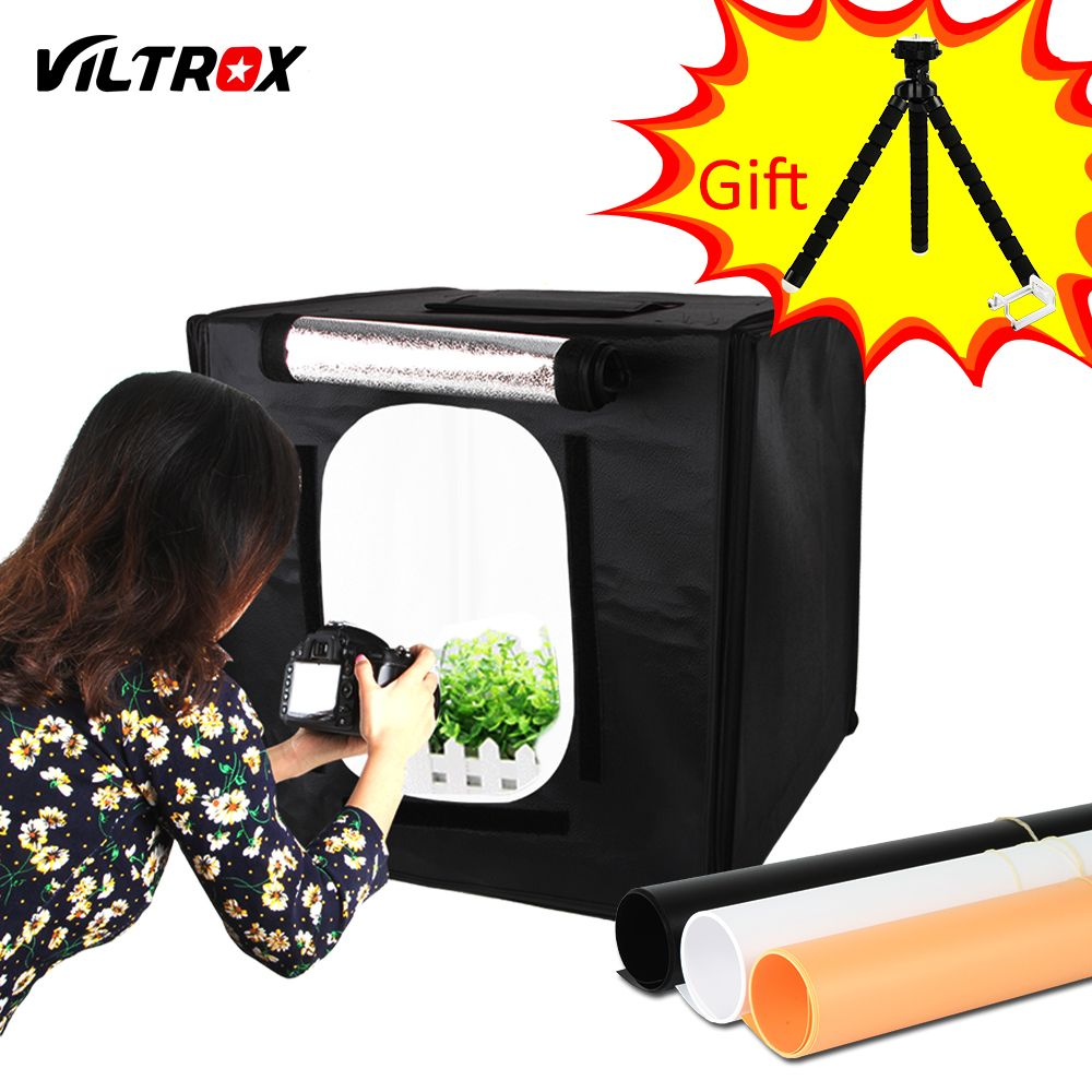 Viltrox 40*40cm LED Photo Studio Softbox Light Tent Soft Box + AC Adapter + Backgrounds for Phone Camera DSLR Jewelry Toys Shoes