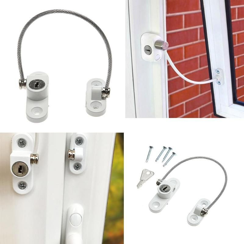 Door Window Security Lock Window Restrictor Safety Device Key Lock Child Safe 200mm Limit Child Safety Doors Lock