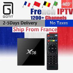 Français IPTV X96 2G16G Amlogic S905X Quad Core Android 6.0 Intelligent TV Box + 1000 + NEOTV IPTV Europe Arabe Belgique Payer TV Set Top boîte