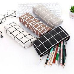 Papeterie Toile Crayon Cas d'école Crayon Sac Simple Rayé grille pencilcase Fournitures de Bureau Stylo sac Étudiants Crayons Écriture