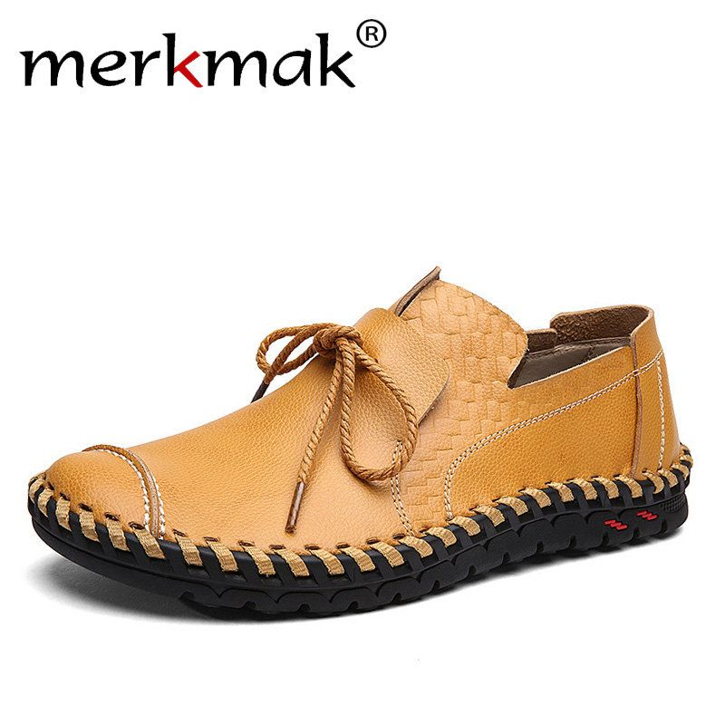 Merkmak Genuine Leather Casual Shoes Men Soft Loafers Moccasins Comfortable Basic Flats Men Handmade Brand Footwear Big Size 48