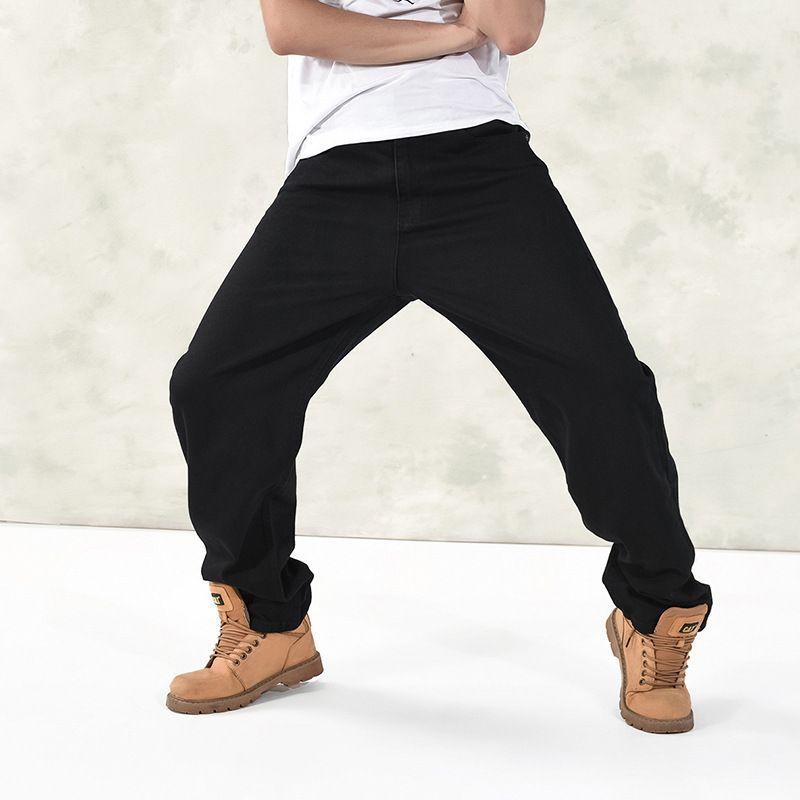 2017 Men's Black Baggy Jeans Hip Hop Designer Brand Skateboard Pants Loose Style Plus Size 30-46 Hiphop Rap Jeans