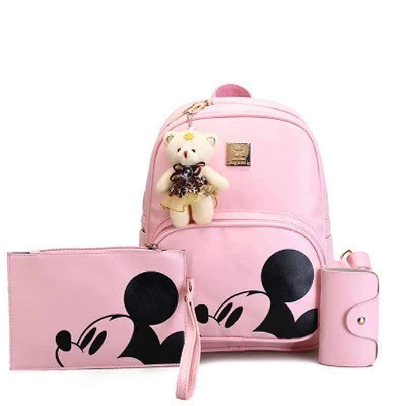 3Pcs Cute Mickey Women Backpack Composite High Quality Pu Leather Leisure Bag Girls Korea Style Mochila Feminina Rucksack