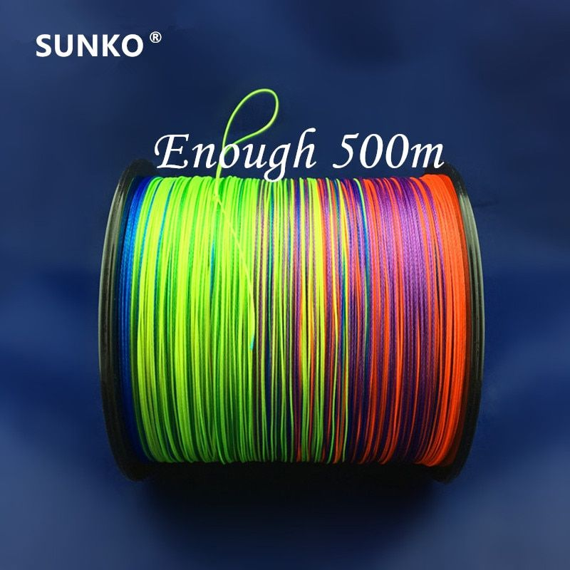 8 brins 500 M SUNKO Japonais de Marque Multifilament PE Matériel coloré de Pêche Tressée Line18 30 40 50 60 70 80 100 120 140 160LB