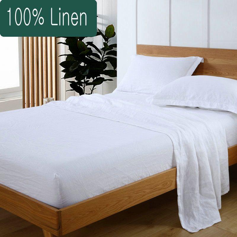 100% Pure Linen Sheet Set Flat Fitted Pillowcase 4 pcs linen bed sheet