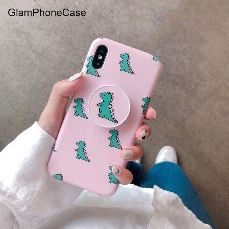 GlamPhoneCase coque de téléphone dinosaure rose pour iphone XS Max XS XR 8 8plus 7 7plus 6/6 s plus housse de protection arrière souple Capa avec support