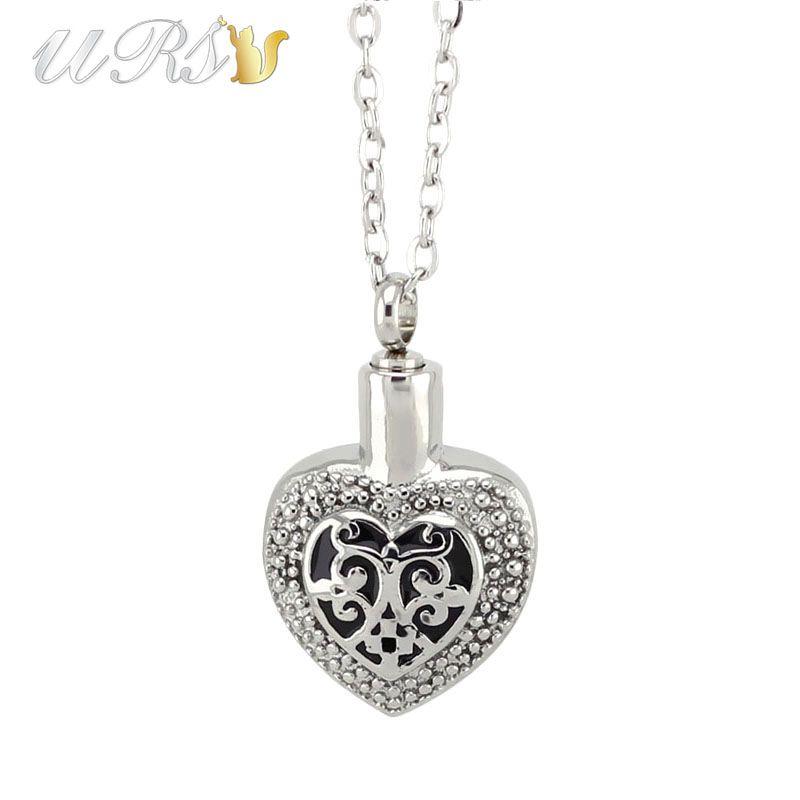 Argent 316L acier inoxydable stéréo coeur crémation urne bijoux collier pendentif parfum médaillon avec o en forme de chaîne