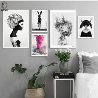 Nórdicos Cuadros carteles y huellas negro blanco Lona de arte de pared de pintura de foto para habitación escandinavo hogar Decoración