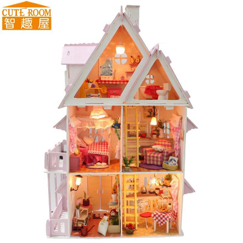 Assembler BRICOLAGE Maison de Poupée Jouet En Bois Miniatura Poupée Maisons Miniature Dollhouse jouets Avec Meubles LED Lumières Cadeau D'anniversaire X001