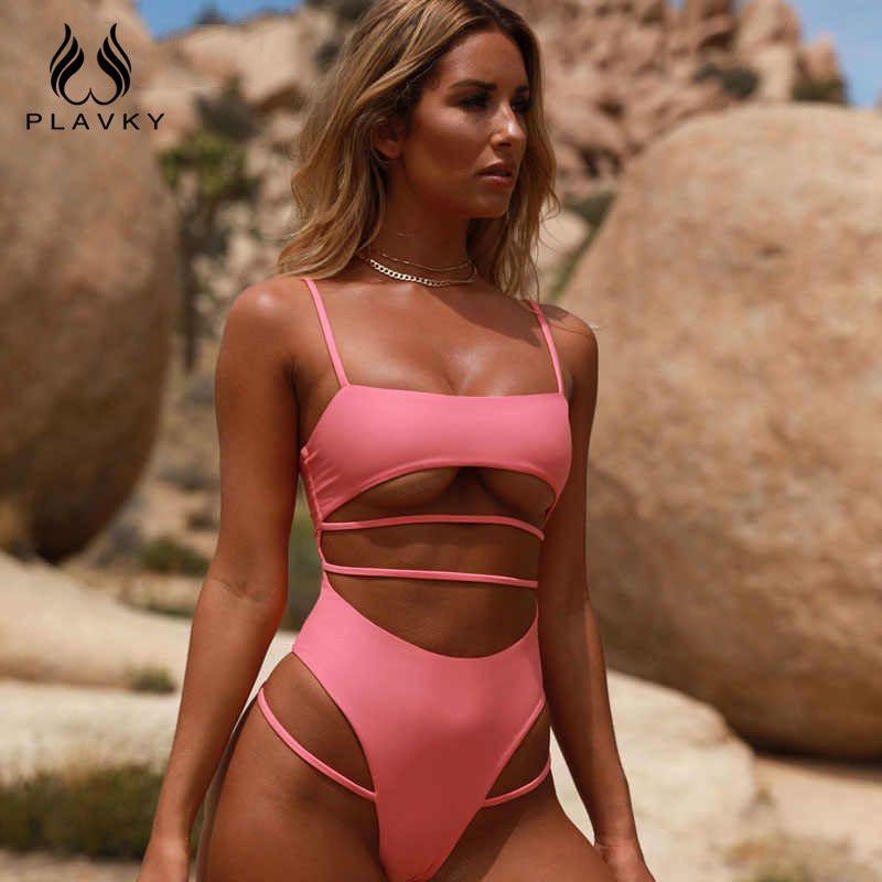 Sexy solide une pièce maillot de bain Bandage à bretelles maillots de bain femmes haute coupe maillot de bain Push Up rembourré maillot de bain femme body