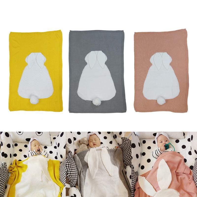 Милое детское одеяло мультфильм кролик уши Мягкий теплый пеленать детей Ванны Полотенца новорожденных хлопок вязаный Постельные принадле...