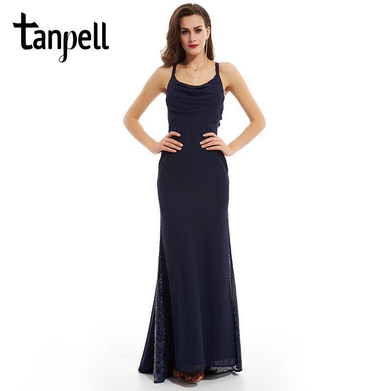 Tanpell sexy correas vestido de noche oscuro azul marino sin mangas una línea de piso-longitud vestidos de las mujeres de las lentejuelas cremallera vestido de noche largo