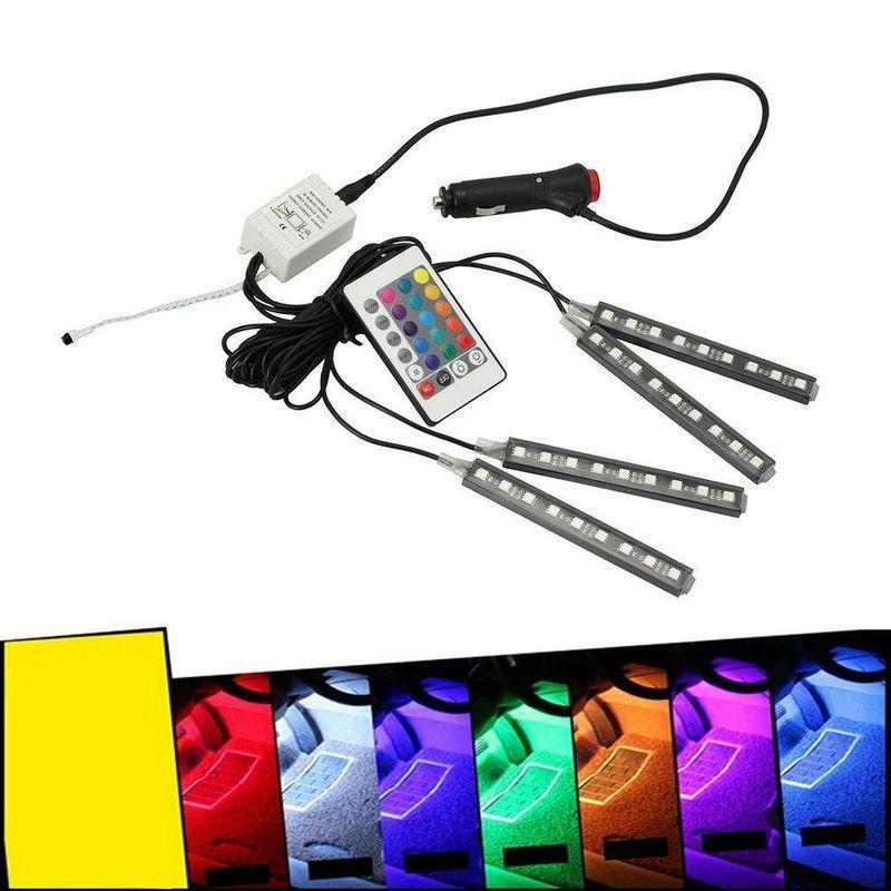 4 stücke 12 v Auto RGB LED DRL Streifen Licht 5050SMD Auto Auto Fernbedienung Dekorative Flexible Led-streifen Atmosphäre lampe Kit Nebel Lampe