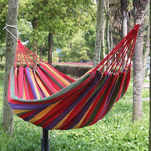 190x80 см Портативный открытый гамак сад Спорт Путешествия Отдых Свинг Холст полосой повесить кровать гамак красный