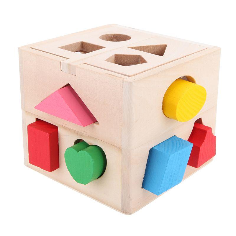 13 trous bébé briques en bois forme trieur Cube cognitif et correspondant bloc enfants reconnaissance Intelligence boîte jouet éducatif