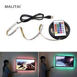1 Pcs USB Alimenté 5 V RGB LED Bande lumière 60 led/m 3528 SMD Non-Imperméable À L'eau Bande pour TV Fond Éclairage Avec Télécommande