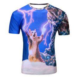T-shirt Musim Panas Gaya Terbaru 12 Warna 3d Cetak Petir Cat T Shirt Homme Merek Pakaian Pria O Leher