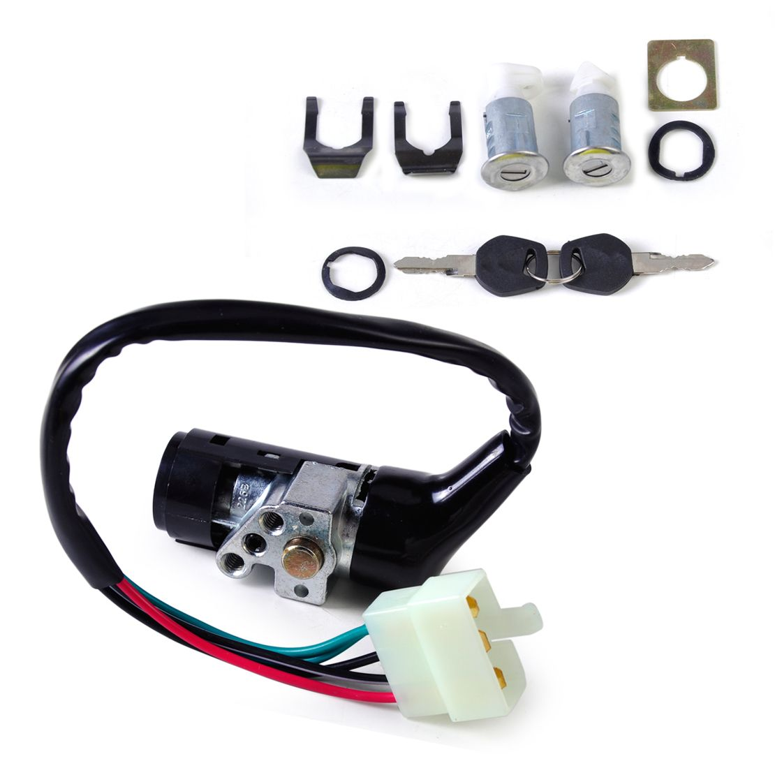 DWCX Motor Ignition Switch 5 Wire 2 Keys Lock Toolbox Lock Set for Chinese Scooter GY6 50cc 125cc 150cc 250cc ATV Scooters Moped