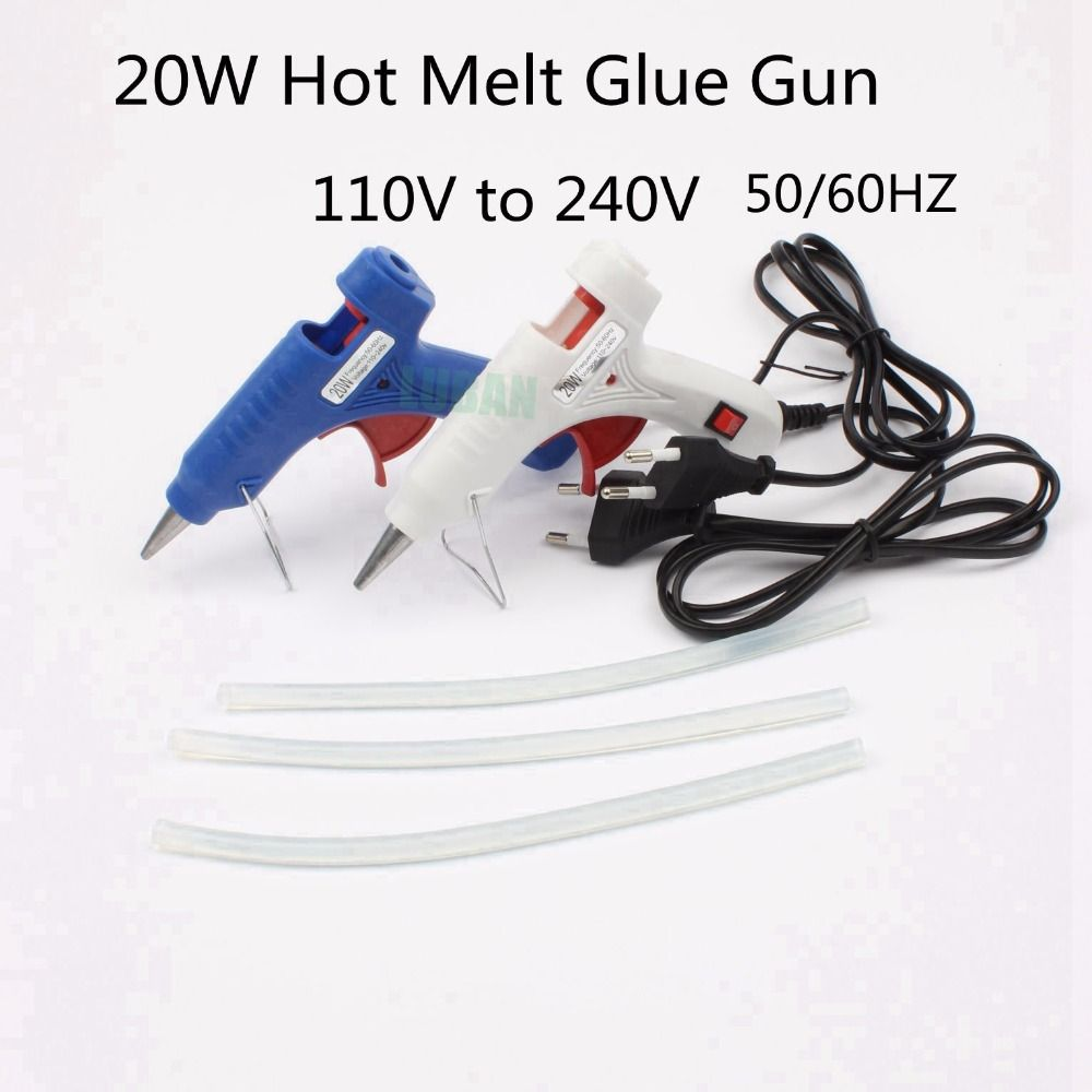 LUBAN 20W EU Plug Hot Melt Glue Gun  3pc 20cm 7mm Glue Stick Industrial Mini Guns Thermo Electric Heat Temperature Tool
