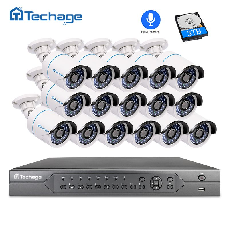 Techage 16CH 2MP 3MP 5MP POE NVR CCTV Security System 16PCS Outdoor 1080P Audio Record IP Camera P2P Video Surveillance System