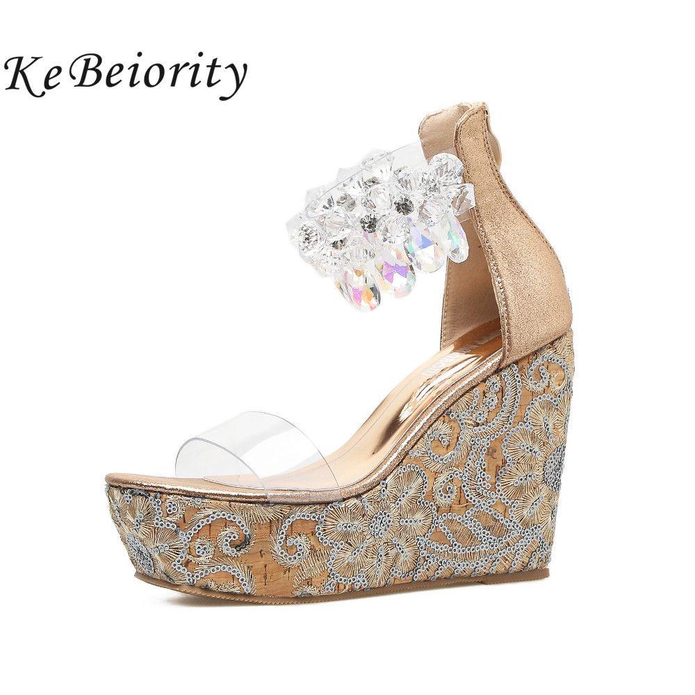 KEBEIORITY Crystal Women High Heel Wedge Sandals Sexy Peep Toe Ankle Strap Rhinestones Platform Wedges Gladiator Summer Shoes