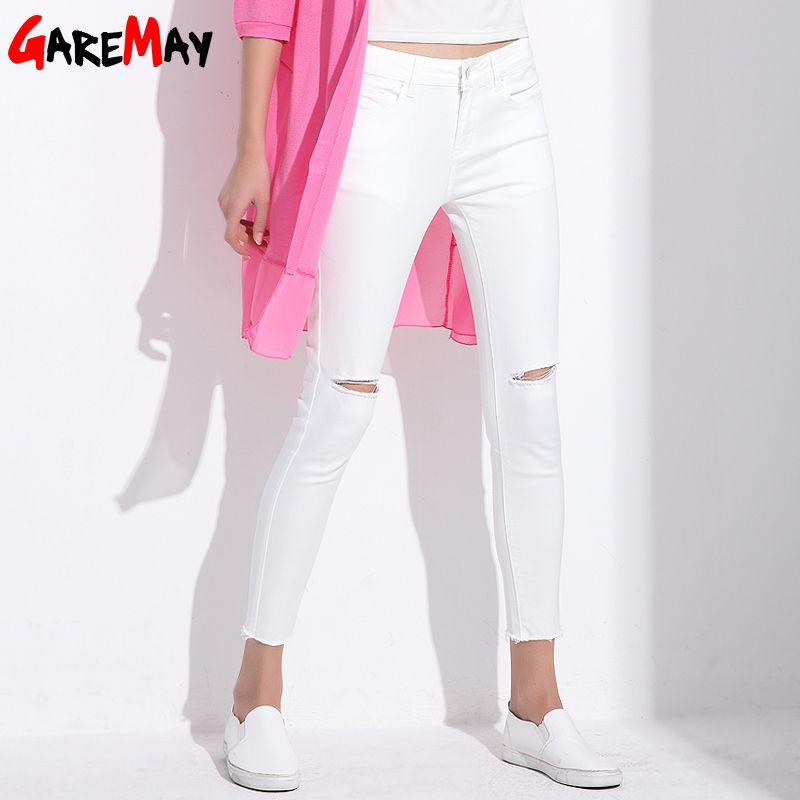 Stretch Jeans Femme Denim Capri Ripped Jeans For Women 2018 Spring Woman Blue Destroyed Jeans <font><b>Feminino</b></font> Pencil Pantalon GAREMAY