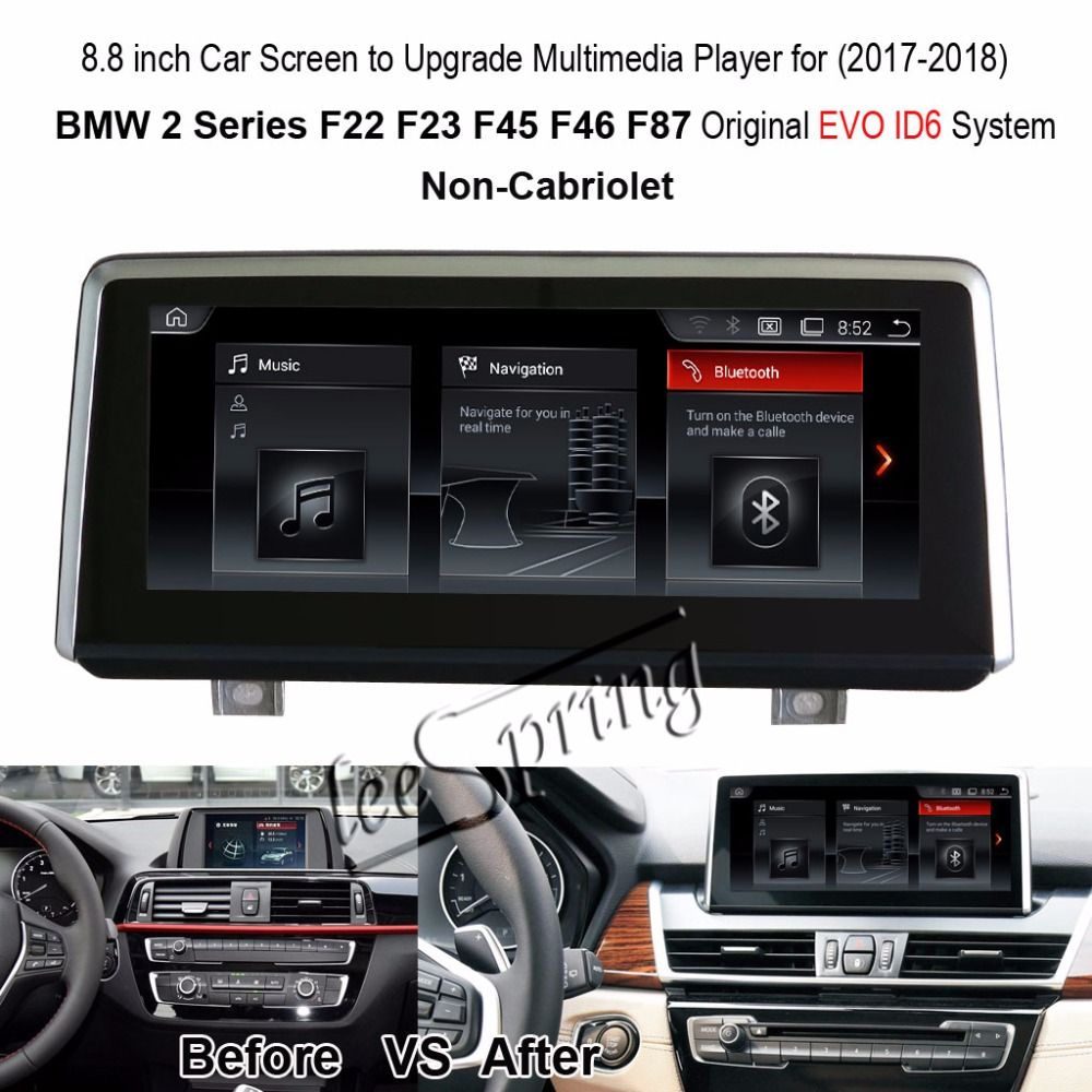 8.8 inch Car Screen to Upgrade Multimedia Player for BMW 2 Series Non-Cabriolet F22 F23 F45 F46 F87 Original EVO ID6 System