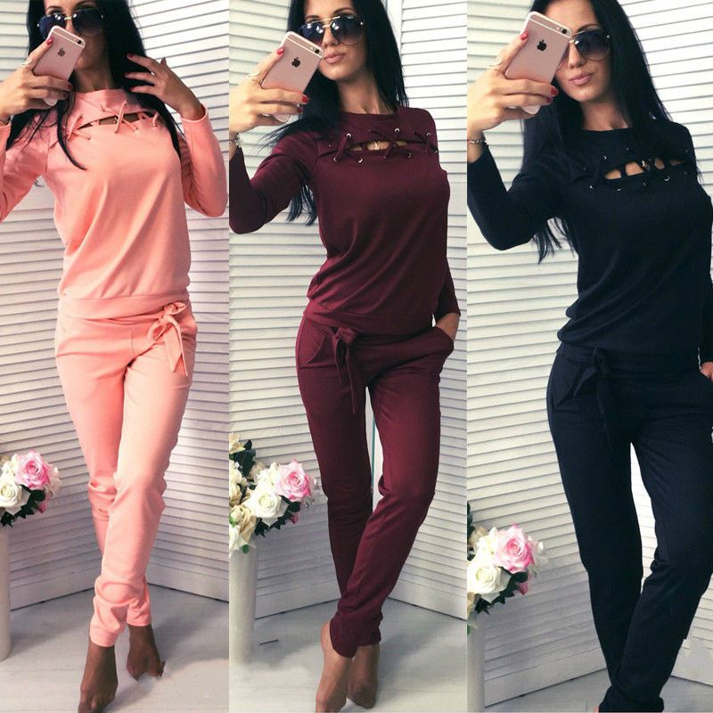 2pcs Women Fashion Casual Long Sleeve Bandage Tops Tracksuit Sweatshirt & Long Slim Pants Womens Fashion Sets Wear Casual Suits