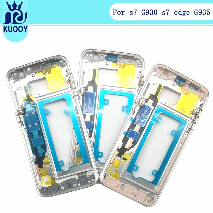 Original S7 S7 Edge Middle frame For Samsung Galaxy G930 S7 G935 Mid Bezel Metal Plate Housing with tracking