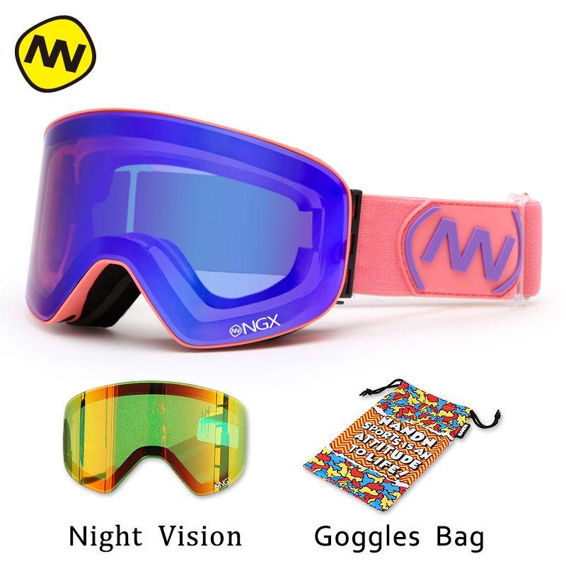 Nandn лыжные очки Очки для лыжного спорта двойные линзы UV400 Анти-туман взрослых сноуборд Лыжный Спорт Очки Для женщин Для мужчин снег очки