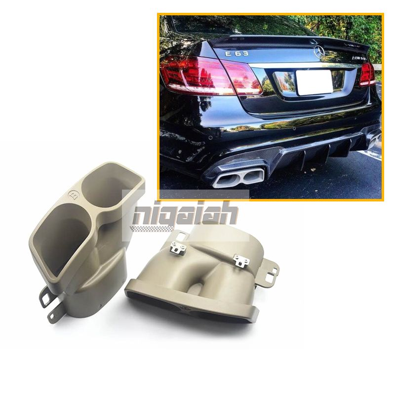 1Pair Exhaust Pipe Muffler end tips Grey 304 Stainless tail throat Pipe For Mercedes Benz C/E/S Class refit Brabus exhaust tips