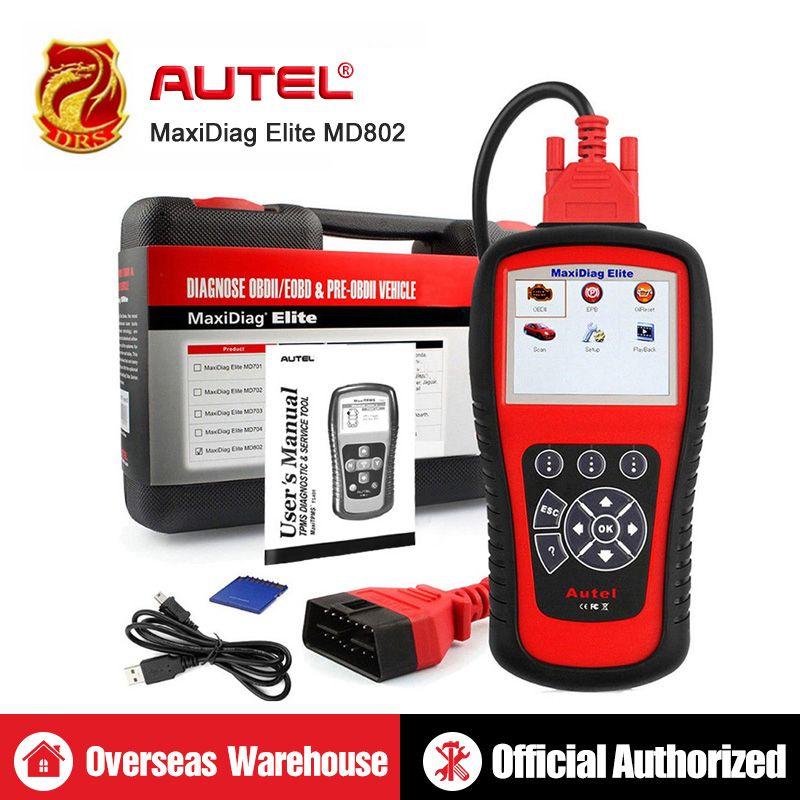 AUTEL MaxiDiag Elite MD802 Alle System Diagnose Werkzeug OBD2 Diagnose Scanner Automotive Werkzeuge OBDII Auto Code Reader PK MD805