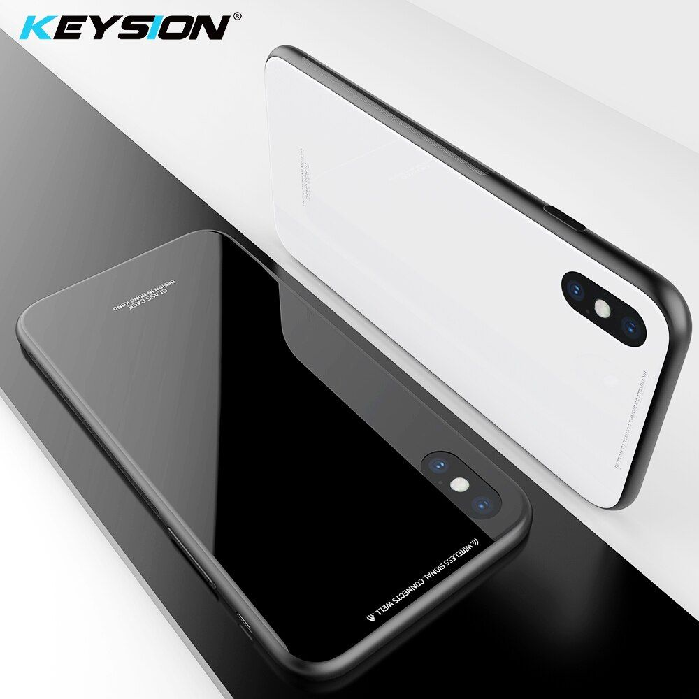 KEYSION Tempered Glass Phone Case For iPhone XS Max Cases Glass Non-slip Black Cover For iPhone X XS XR Case Funda Accessories