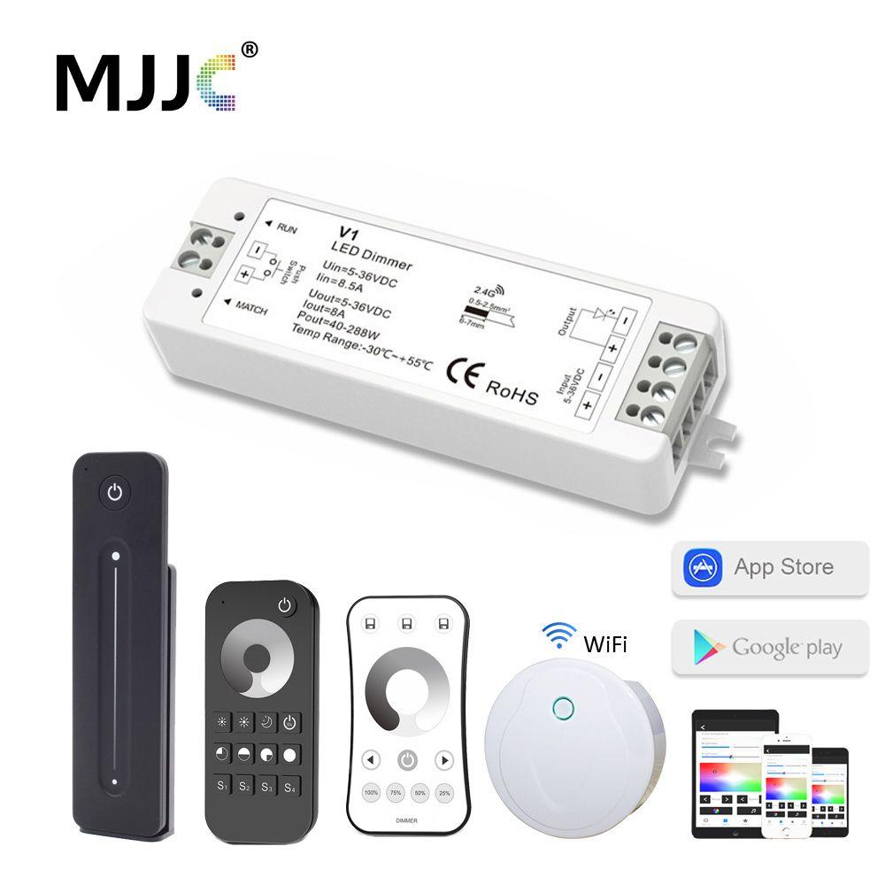 LED gradateur 12 V 24 V PWM 2.4G LED tactile RF sans fil à distance 5 V 36 V intelligent Wifi gradateur contrôleur pour bande de LED couleur simple