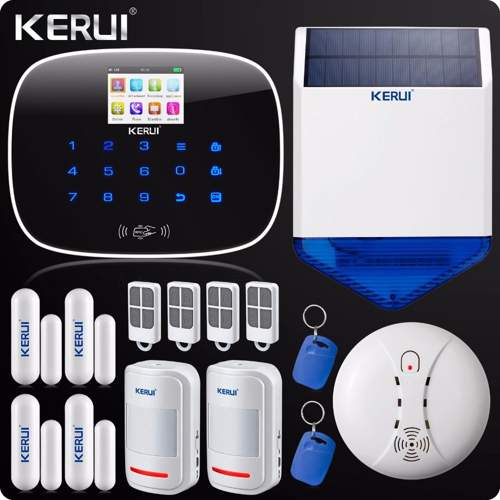 Iphone Android App GSM Home Security Alarm System SMS RFID Touch Keypad Outdoor Solar Siren Door Open Reminder Smoke Detector