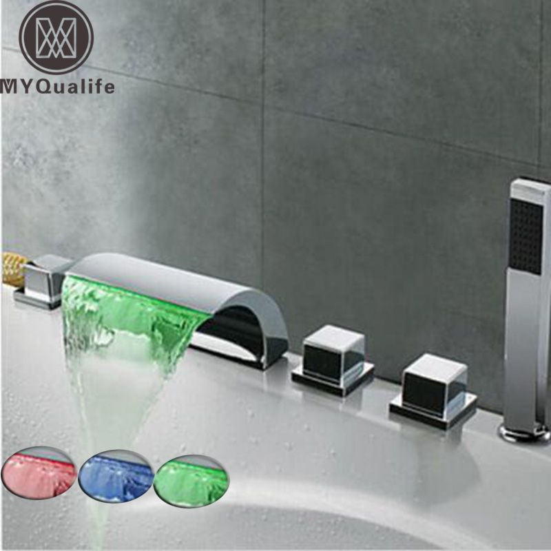 LED Waterfall Bathtub Faucet Widespread Tub Sink Mixer Taps Chrome Brass Bathroom Bath Shower Faucet with Handshower