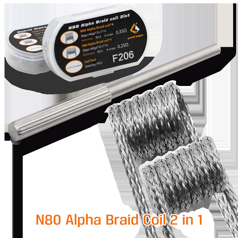 original geekvape F205 Hybrid Alpha Braid Coil 2 in 1 and F206 N80 Alpha Braid coil 2 in 1 pre-built coils for RDA RTA RDTA DIY