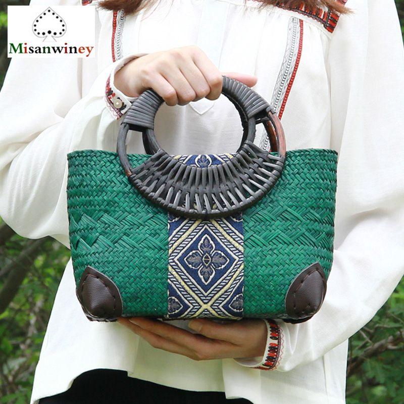 2018 New Bali Trending Women Tote Bag Ethnic Natural Grass Rattan Woven Bamboo Bag Clip Style Handbags Handmade Rattan Bag Bolsa