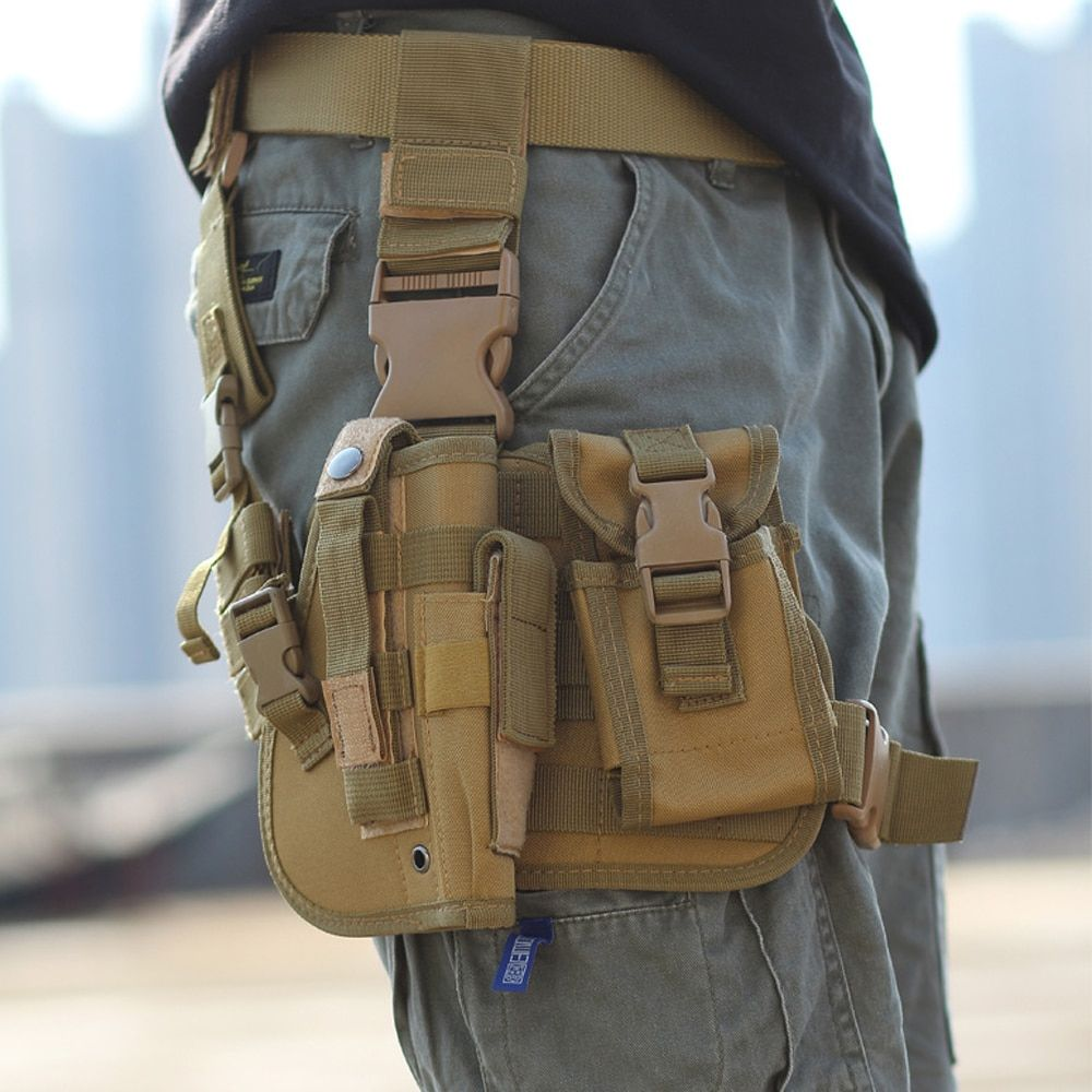 Adjustable Tactical Puttee Thigh Shouder Pistol Gun Holster Pouch Camping Wrap-around Outdoor Hunting Accessories drop ship