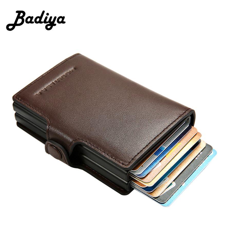 Пояса из натуральной кожи Бизнес бумажник мужской безопасный RIFD держатель кредитной карты Для мужчин автоматические всплывающие Алюминий ...