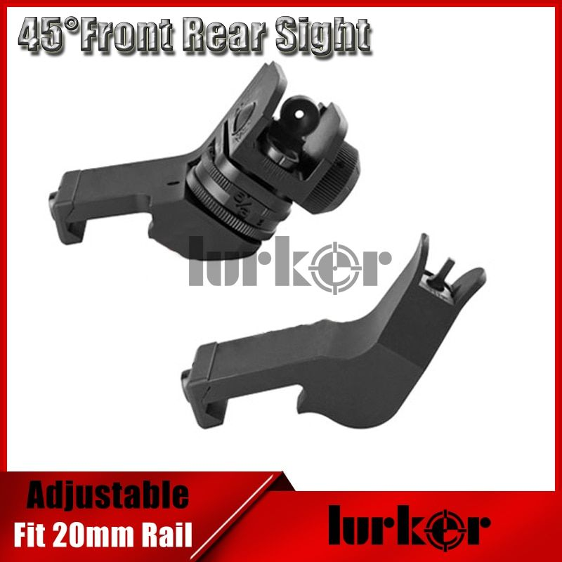 KINSTTA Tactical AR 15 Front/Rear 45-Degree Rapid Transition BUIS Backup Iron Sight Fit 20mm Picatinny rail