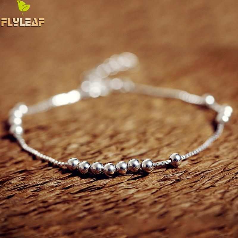 Flyleaf 925 Sterling Silver Box Chain Beaded Bracelets For Women Simple Style Femme Prevent Allergy Sterling-silver-jewelry