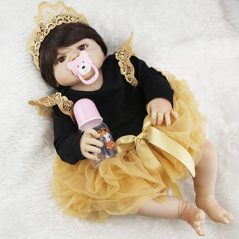 Lifelike 23'' Newborn Doll Can Bathe Full Silicone Vinyl Body Reborn Dolls Baby Princess Brinquedos Best Birthday Gifts for Girl