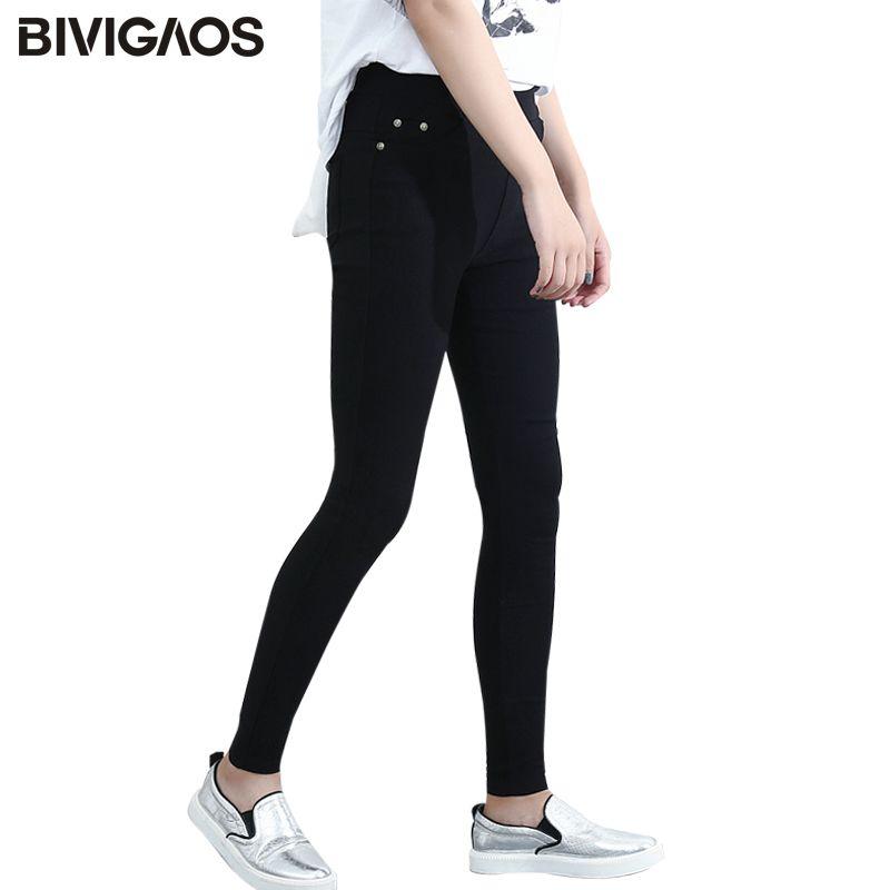 BIVIGAOS printemps mode femmes Leggings Skinny décontracté Slim haute élastique poche crayon pantalon tissé Leggings pour femmes jegging